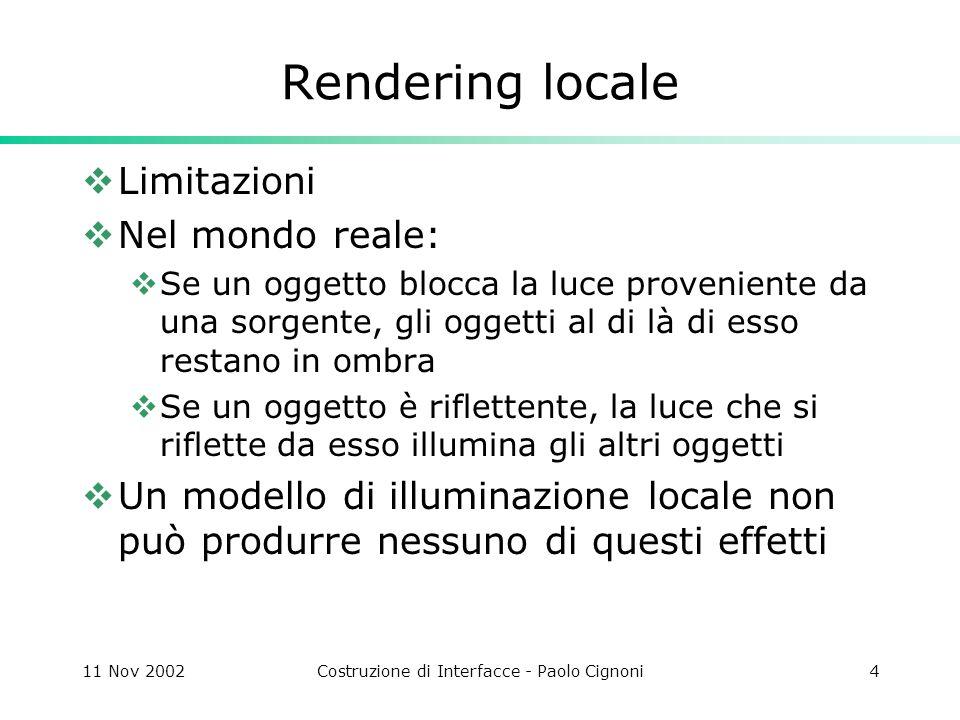 11 Nov 2002Costruzione di Interfacce - Paolo Cignoni45 Radiosity In pratica dopo aver calcolato I form factor si risolve un sistema di eq.