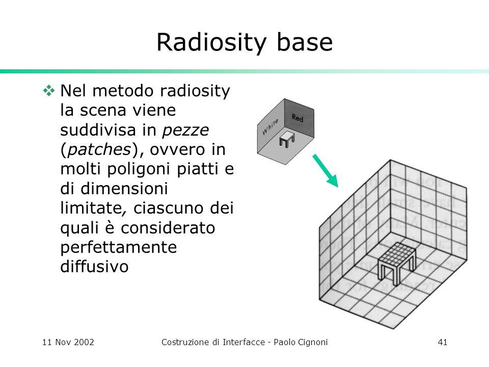 11 Nov 2002Costruzione di Interfacce - Paolo Cignoni41 Radiosity base Nel metodo radiosity la scena viene suddivisa in pezze (patches), ovvero in molti poligoni piatti e di dimensioni limitate, ciascuno dei quali è considerato perfettamente diffusivo