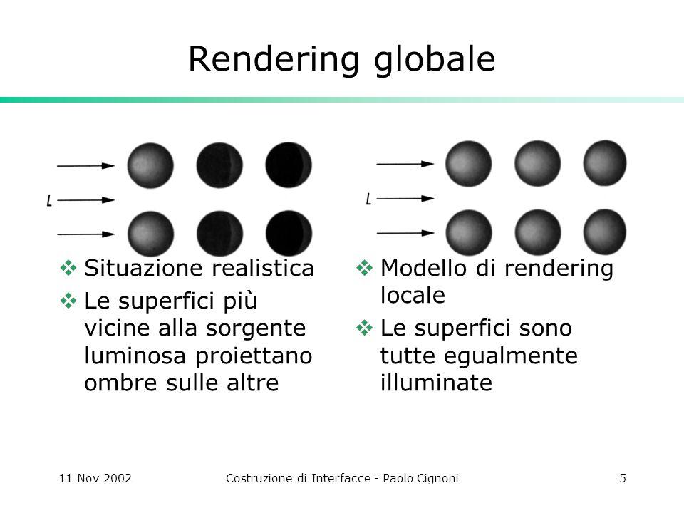 11 Nov 2002Costruzione di Interfacce - Paolo Cignoni46 Radiosity Il risultato del calcolo della radiosity è relativo alla componente diffusa dello shading di una superficie, quindi è indipendente dalla posizione dellosservatore.