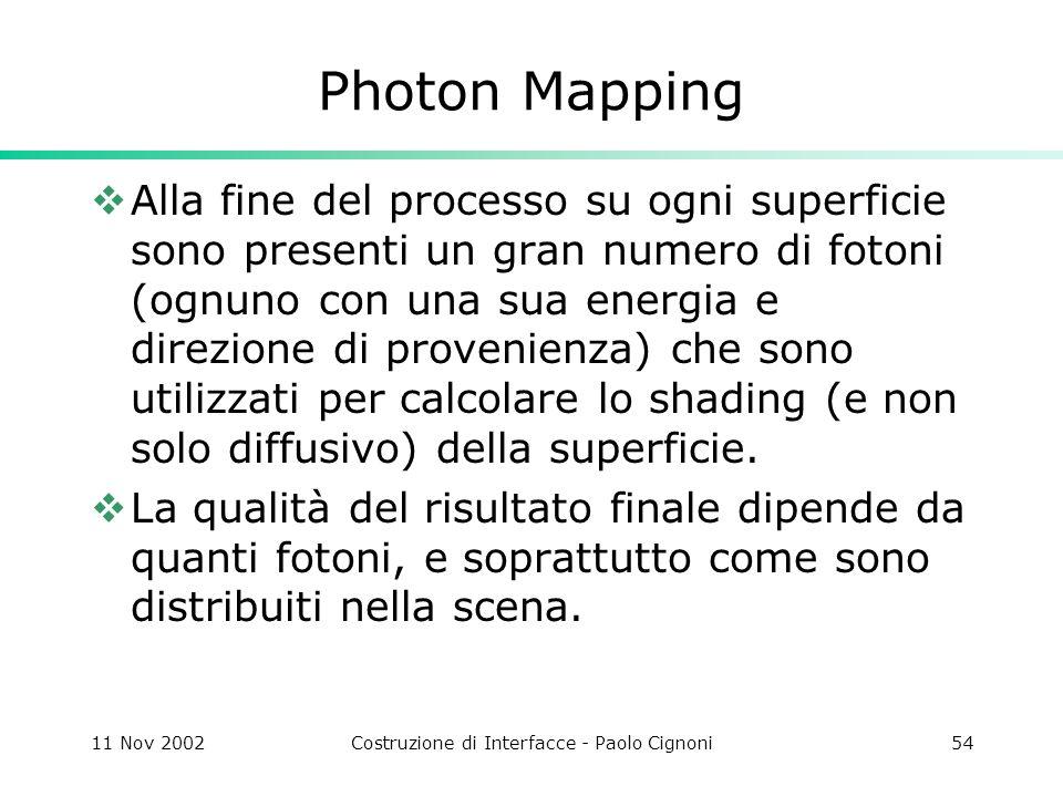 11 Nov 2002Costruzione di Interfacce - Paolo Cignoni54 Photon Mapping Alla fine del processo su ogni superficie sono presenti un gran numero di fotoni (ognuno con una sua energia e direzione di provenienza) che sono utilizzati per calcolare lo shading (e non solo diffusivo) della superficie.