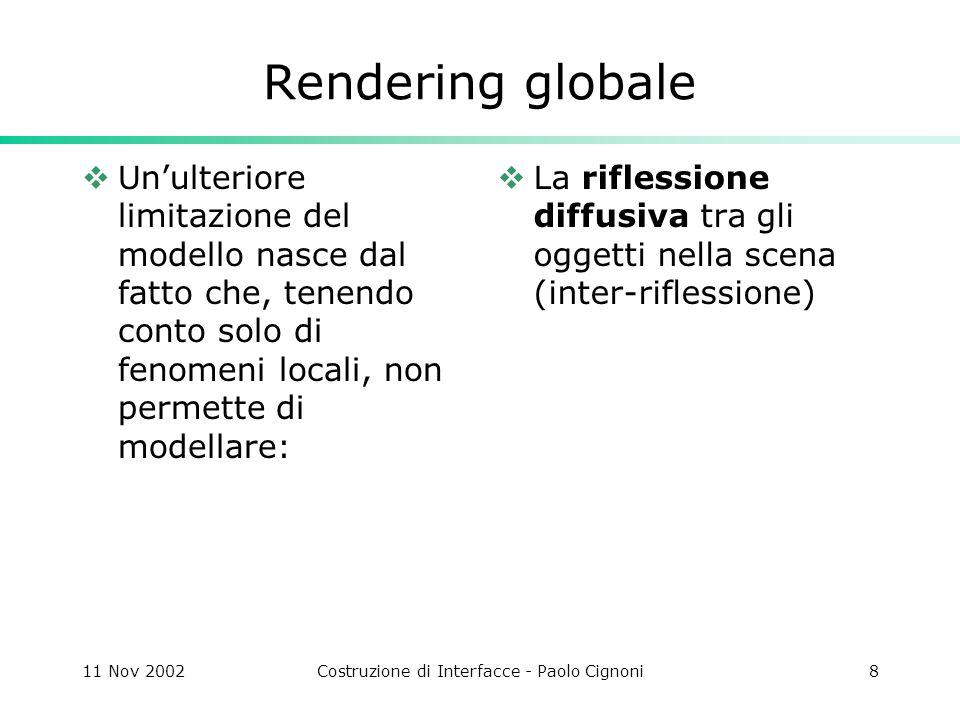 11 Nov 2002Costruzione di Interfacce - Paolo Cignoni9 Rendering globale Per risolvere i problemi di punto di vista e luci nella scena trasparenza riflessioni speculari da altri oggetti ombre si applica il metodo Ray Tracing