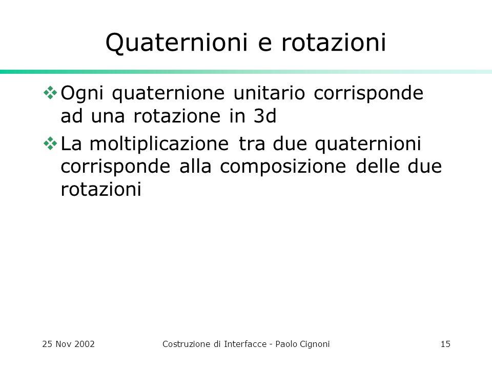 25 Nov 2002Costruzione di Interfacce - Paolo Cignoni15 Quaternioni e rotazioni Ogni quaternione unitario corrisponde ad una rotazione in 3d La moltiplicazione tra due quaternioni corrisponde alla composizione delle due rotazioni