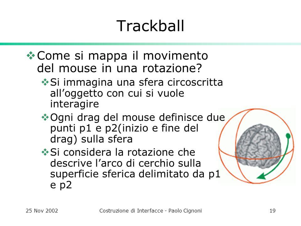 25 Nov 2002Costruzione di Interfacce - Paolo Cignoni19 Trackball Come si mappa il movimento del mouse in una rotazione.