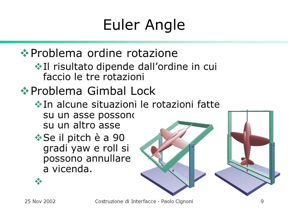 25 Nov 2002Costruzione di Interfacce - Paolo Cignoni9 Euler Angle Problema ordine rotazione Il risultato dipende dallordine in cui faccio le tre rotazioni Problema Gimbal Lock In alcune situazioni le rotazioni fatte su un asse possono coprire quelle su un altro asse Se il pitch è a 90 gradi yaw e roll si possono annullare a vicenda.
