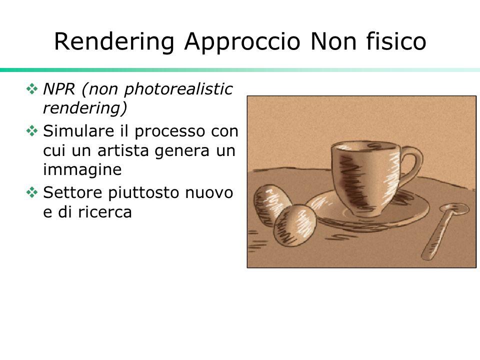 Rendering Approccio Non fisico NPR (non photorealistic rendering) Simulare il processo con cui un artista genera un immagine Settore piuttosto nuovo e di ricerca