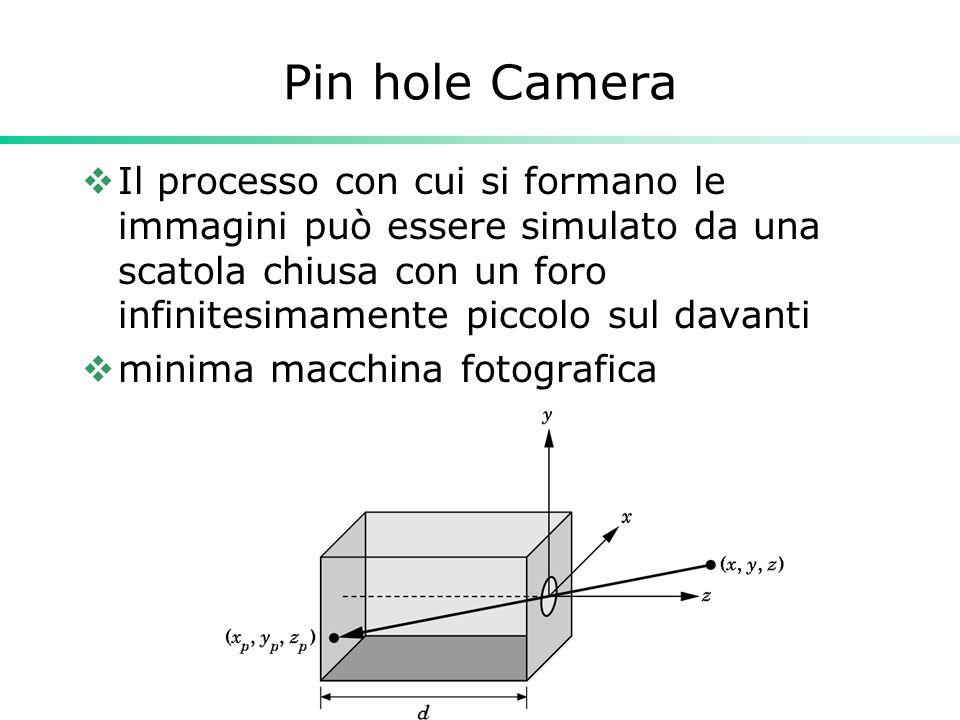 Pin hole Camera Il processo con cui si formano le immagini può essere simulato da una scatola chiusa con un foro infinitesimamente piccolo sul davanti