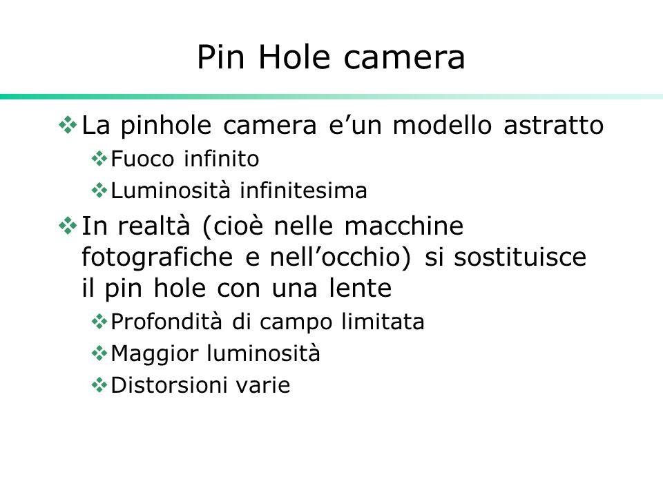 Pin Hole camera La pinhole camera eun modello astratto Fuoco infinito Luminosità infinitesima In realtà (cioè nelle macchine fotografiche e nellocchio) si sostituisce il pin hole con una lente Profondità di campo limitata Maggior luminosità Distorsioni varie