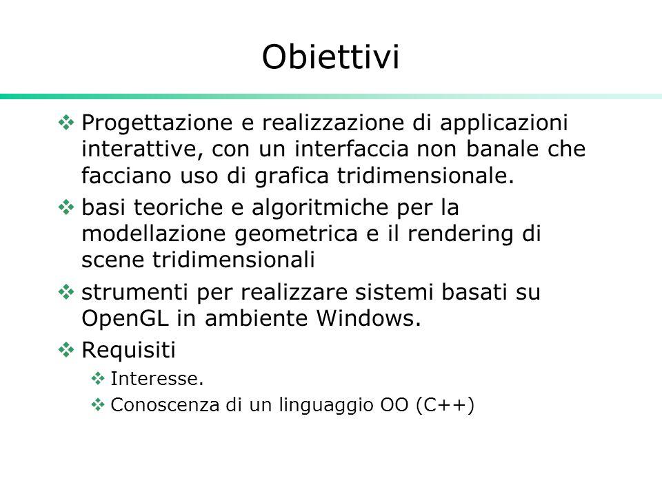 Obiettivi Progettazione e realizzazione di applicazioni interattive, con un interfaccia non banale che facciano uso di grafica tridimensionale. basi t