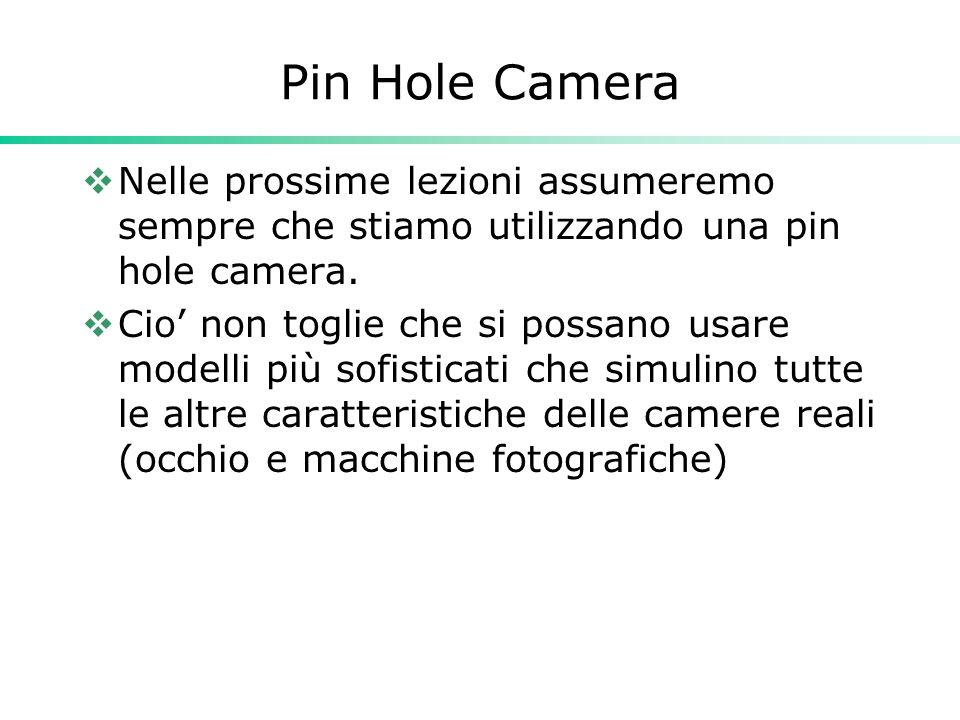 Pin Hole Camera Nelle prossime lezioni assumeremo sempre che stiamo utilizzando una pin hole camera. Cio non toglie che si possano usare modelli più s