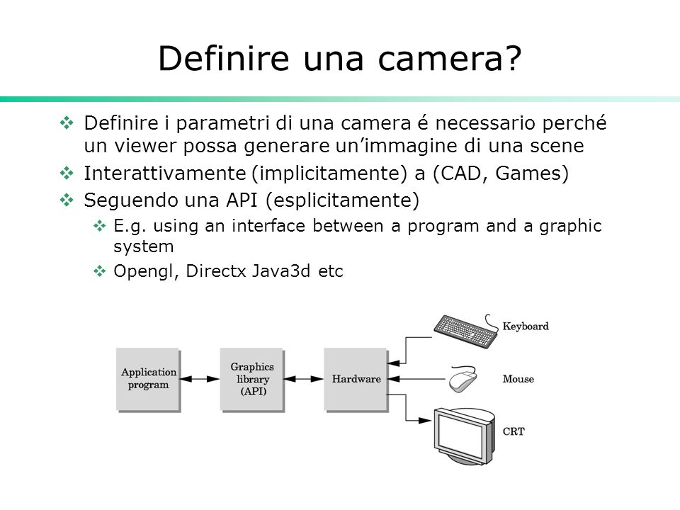 Definire una camera? Definire i parametri di una camera é necessario perché un viewer possa generare unimmagine di una scene Interattivamente (implici