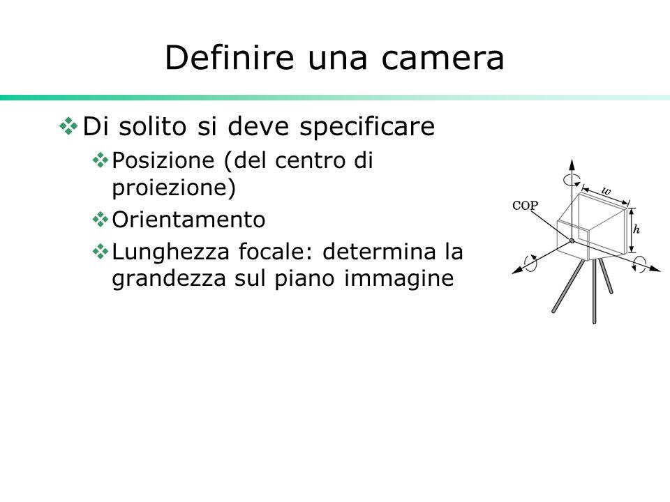 Definire una camera Di solito si deve specificare Posizione (del centro di proiezione) Orientamento Lunghezza focale: determina la grandezza sul piano
