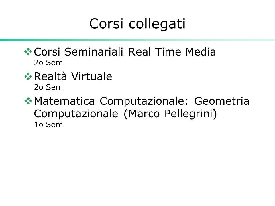 Corsi collegati Corsi Seminariali Real Time Media 2o Sem Realtà Virtuale 2o Sem Matematica Computazionale: Geometria Computazionale (Marco Pellegrini) 1o Sem