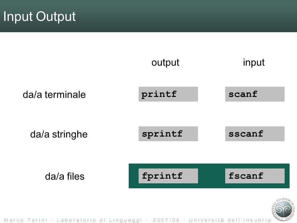 M a r c o T a r i n i - L a b o r a t o r i o d i L i n g u a g g i - 2 0 0 7 / 0 8 - U n i v e r s i t à d e l l I n s u b r i a Input Output printf sprintf fprintf scanf sscanf fscanf da/a terminale da/a stringhe da/a files inputoutput