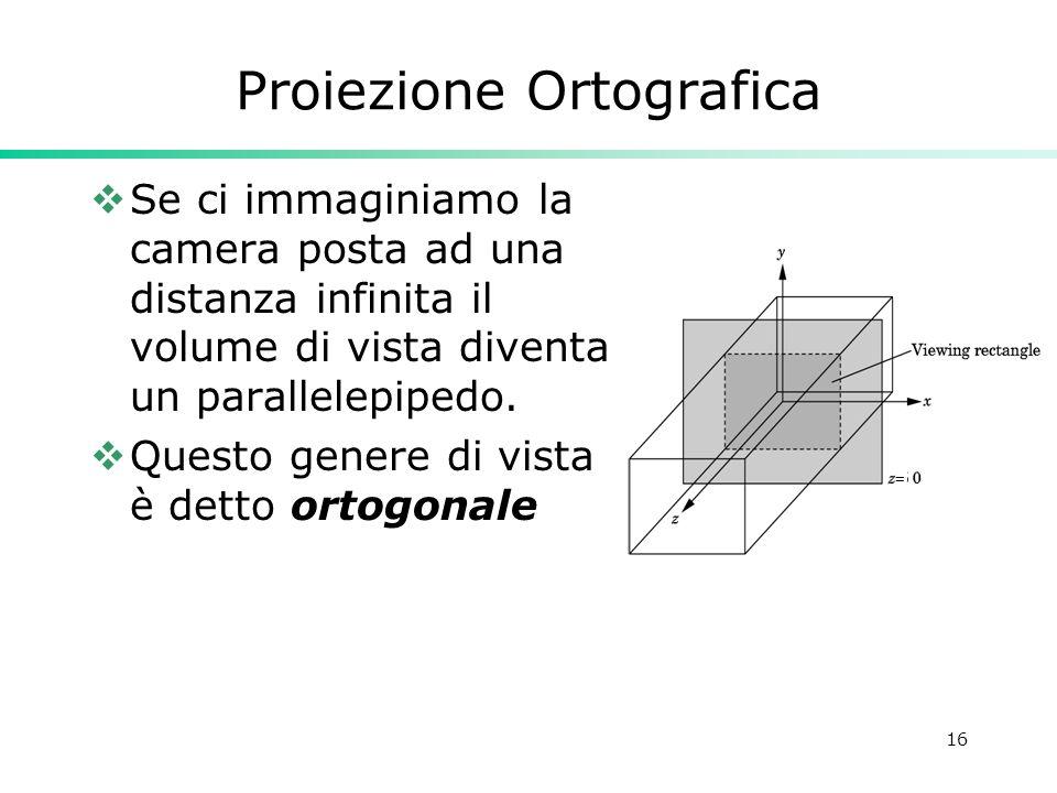 16 Proiezione Ortografica Se ci immaginiamo la camera posta ad una distanza infinita il volume di vista diventa un parallelepipedo. Questo genere di v