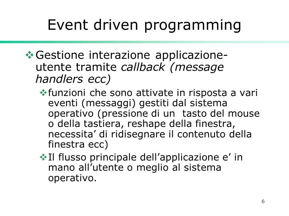 6 Event driven programming Gestione interazione applicazione- utente tramite callback (message handlers ecc) funzioni che sono attivate in risposta a