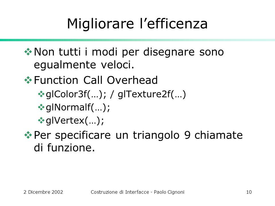 2 Dicembre 2002Costruzione di Interfacce - Paolo Cignoni10 Migliorare lefficenza Non tutti i modi per disegnare sono egualmente veloci.
