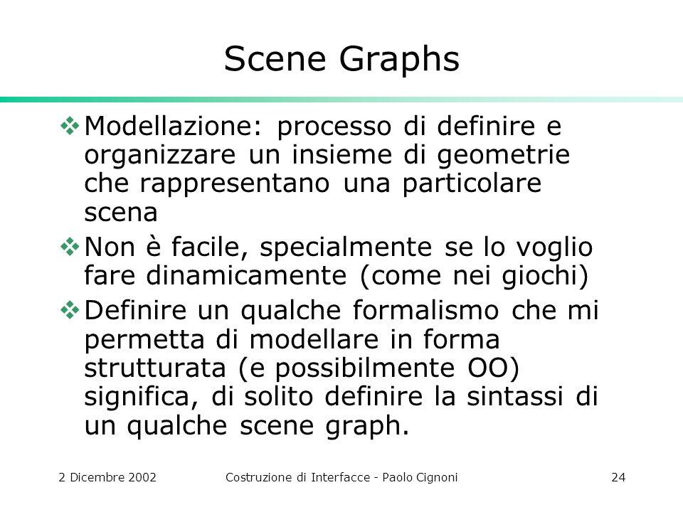 2 Dicembre 2002Costruzione di Interfacce - Paolo Cignoni24 Scene Graphs Modellazione: processo di definire e organizzare un insieme di geometrie che rappresentano una particolare scena Non è facile, specialmente se lo voglio fare dinamicamente (come nei giochi) Definire un qualche formalismo che mi permetta di modellare in forma strutturata (e possibilmente OO) significa, di solito definire la sintassi di un qualche scene graph.