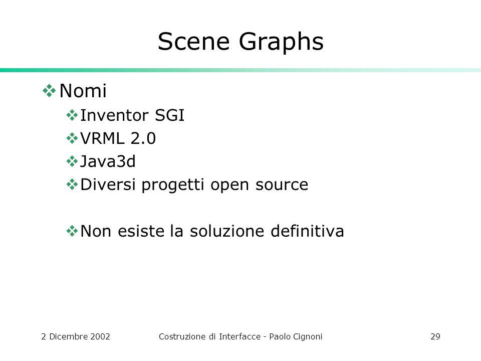 2 Dicembre 2002Costruzione di Interfacce - Paolo Cignoni29 Scene Graphs Nomi Inventor SGI VRML 2.0 Java3d Diversi progetti open source Non esiste la soluzione definitiva