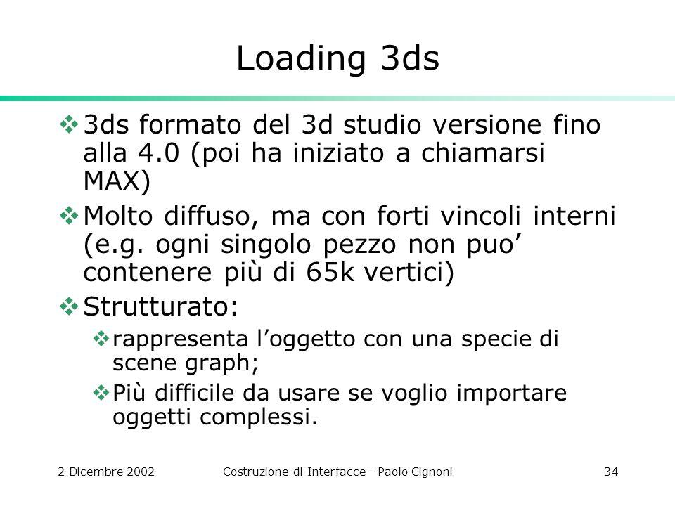 2 Dicembre 2002Costruzione di Interfacce - Paolo Cignoni34 Loading 3ds 3ds formato del 3d studio versione fino alla 4.0 (poi ha iniziato a chiamarsi MAX) Molto diffuso, ma con forti vincoli interni (e.g.