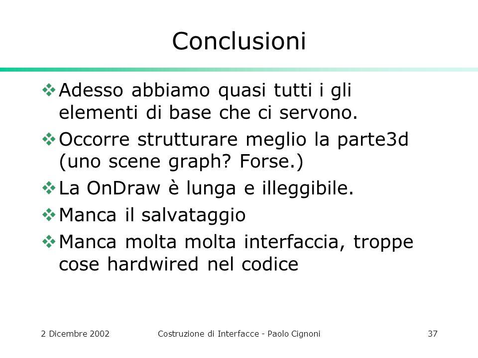 2 Dicembre 2002Costruzione di Interfacce - Paolo Cignoni37 Conclusioni Adesso abbiamo quasi tutti i gli elementi di base che ci servono.