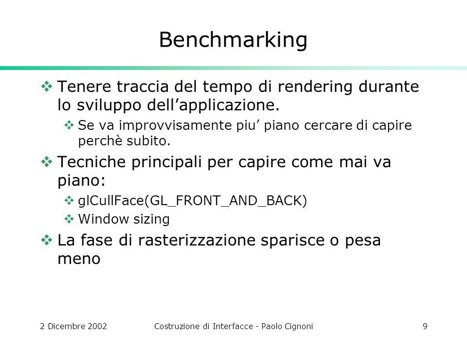 2 Dicembre 2002Costruzione di Interfacce - Paolo Cignoni9 Benchmarking Tenere traccia del tempo di rendering durante lo sviluppo dellapplicazione.