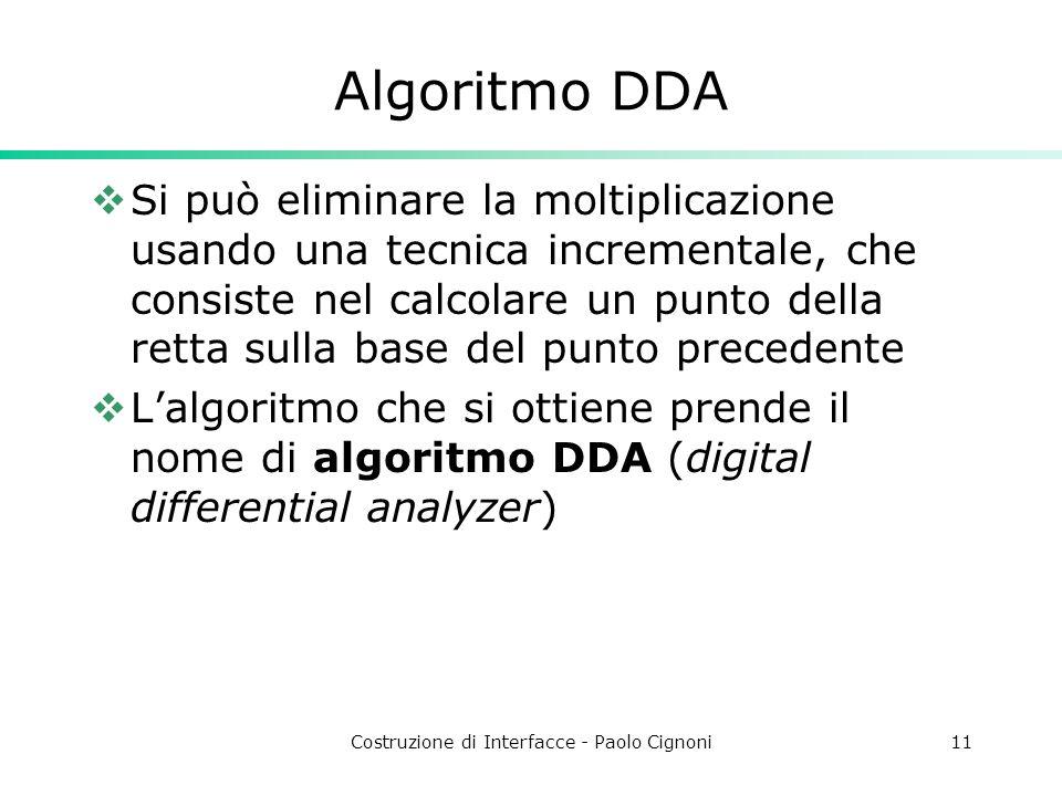 Costruzione di Interfacce - Paolo Cignoni11 Algoritmo DDA Si può eliminare la moltiplicazione usando una tecnica incrementale, che consiste nel calcol