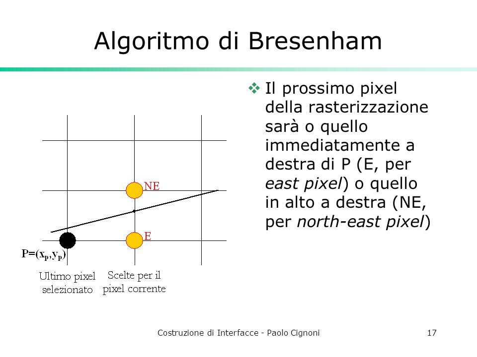 Costruzione di Interfacce - Paolo Cignoni17 Algoritmo di Bresenham Il prossimo pixel della rasterizzazione sarà o quello immediatamente a destra di P