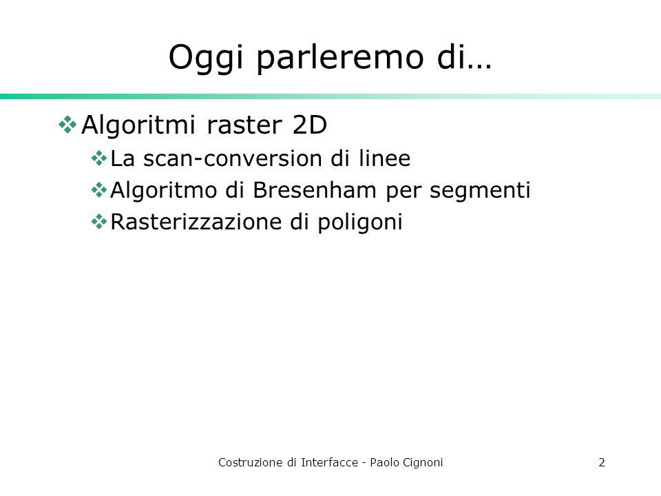 Costruzione di Interfacce - Paolo Cignoni2 Oggi parleremo di… Algoritmi raster 2D La scan-conversion di linee Algoritmo di Bresenham per segmenti Rast