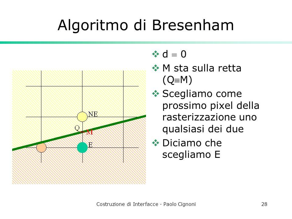 Costruzione di Interfacce - Paolo Cignoni28 Algoritmo di Bresenham d 0 M sta sulla retta (QM) Scegliamo come prossimo pixel della rasterizzazione uno
