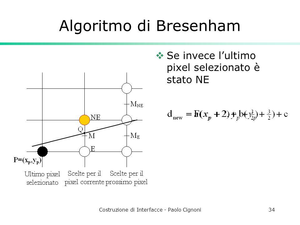 Costruzione di Interfacce - Paolo Cignoni34 Algoritmo di Bresenham Se invece lultimo pixel selezionato è stato NE