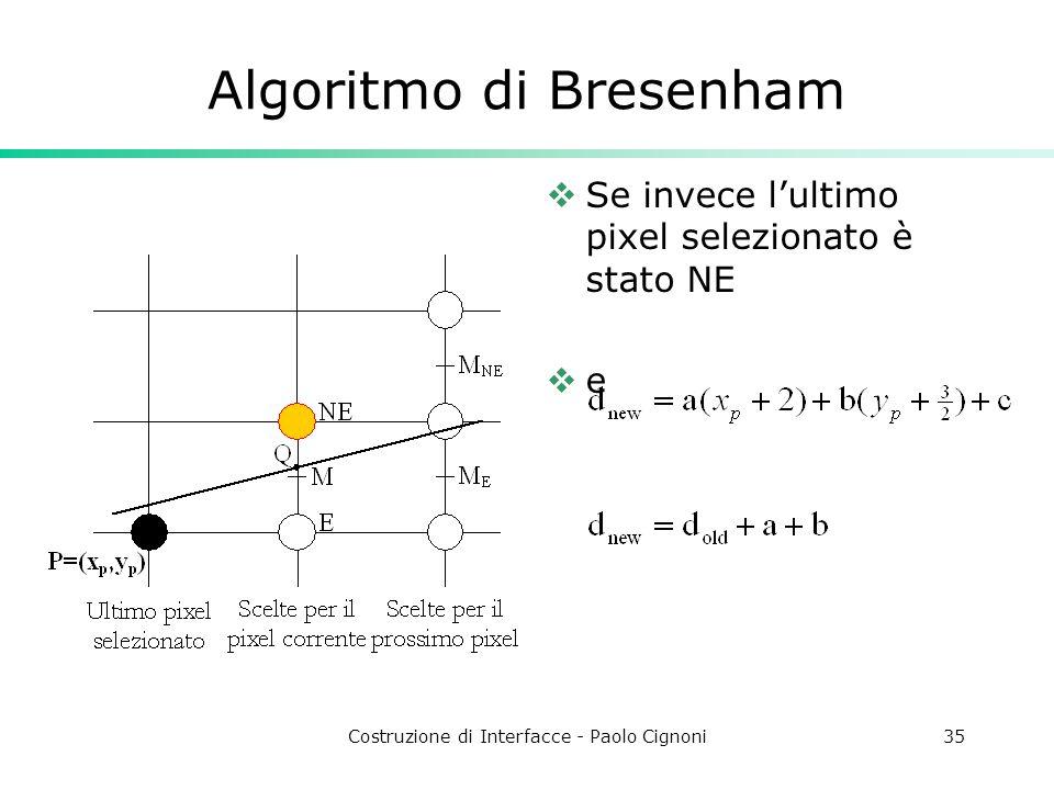 Costruzione di Interfacce - Paolo Cignoni35 Algoritmo di Bresenham Se invece lultimo pixel selezionato è stato NE e