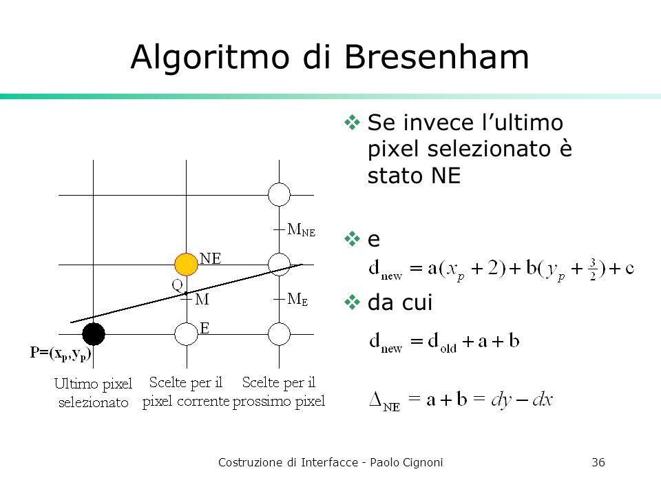 Costruzione di Interfacce - Paolo Cignoni36 Algoritmo di Bresenham Se invece lultimo pixel selezionato è stato NE e da cui