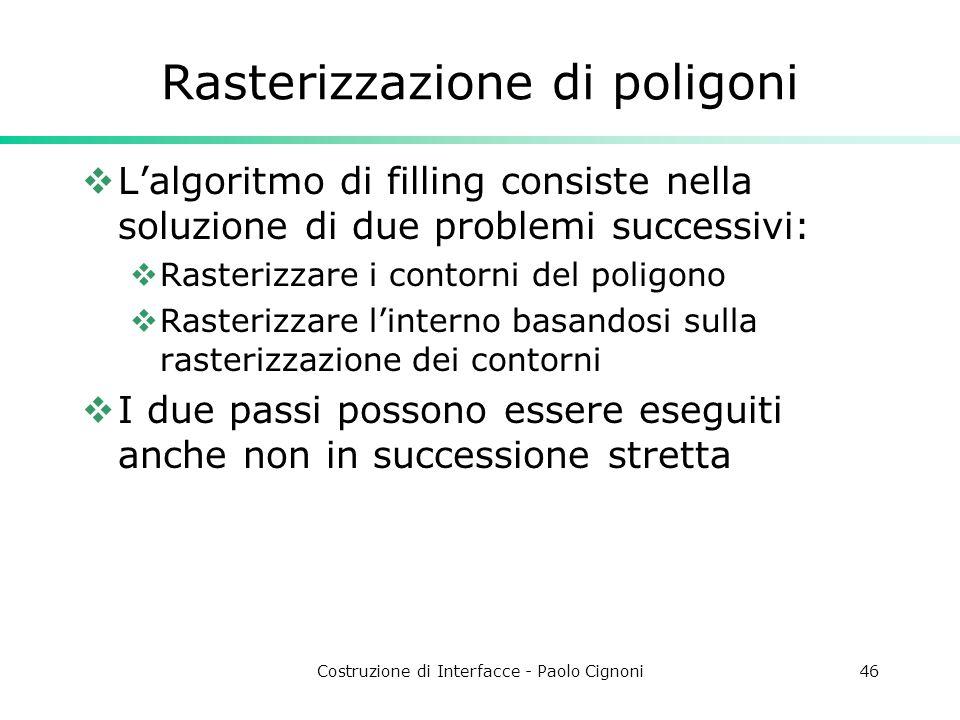 Costruzione di Interfacce - Paolo Cignoni46 Rasterizzazione di poligoni Lalgoritmo di filling consiste nella soluzione di due problemi successivi: Ras