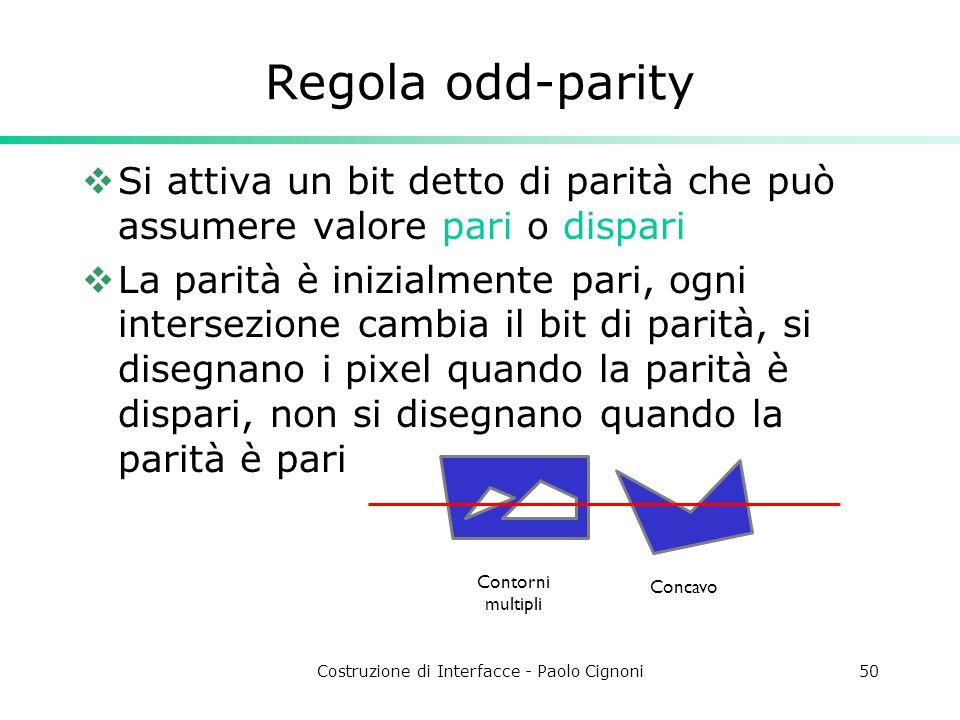 Costruzione di Interfacce - Paolo Cignoni50 Regola odd-parity Si attiva un bit detto di parità che può assumere valore pari o dispari La parità è iniz