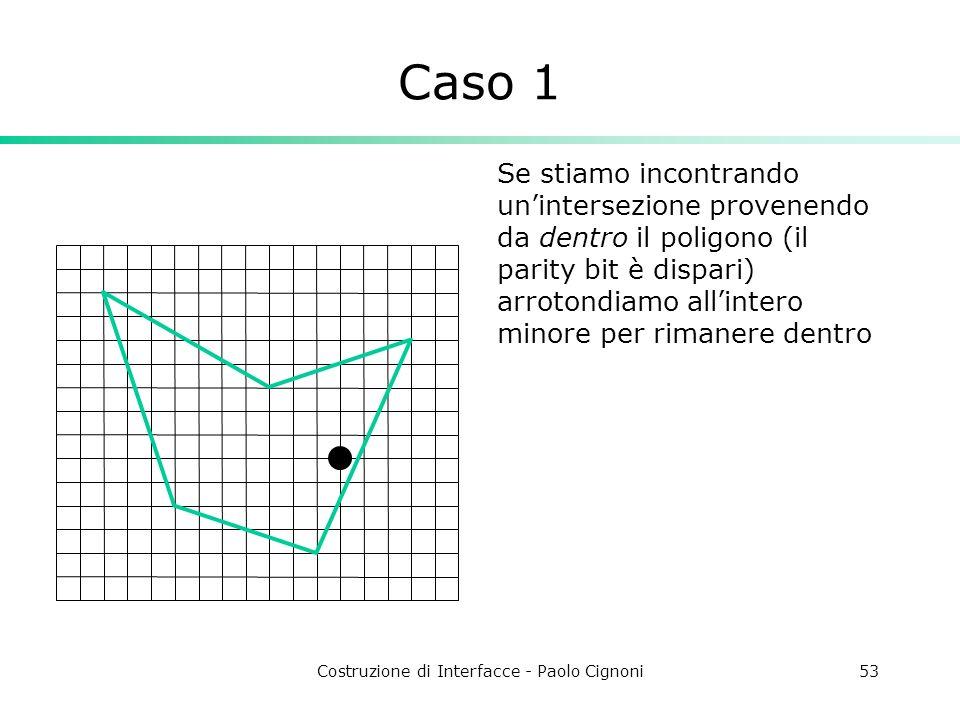 Costruzione di Interfacce - Paolo Cignoni53 Caso 1 Se stiamo incontrando unintersezione provenendo da dentro il poligono (il parity bit è dispari) arr