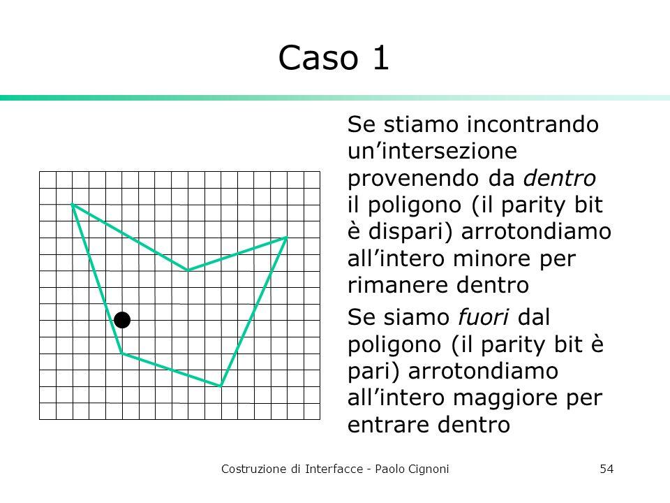 Costruzione di Interfacce - Paolo Cignoni54 Caso 1 Se stiamo incontrando unintersezione provenendo da dentro il poligono (il parity bit è dispari) arr