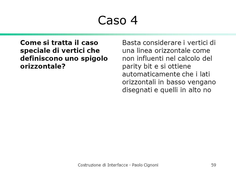 Costruzione di Interfacce - Paolo Cignoni59 Caso 4 Come si tratta il caso speciale di vertici che definiscono uno spigolo orizzontale? Basta considera