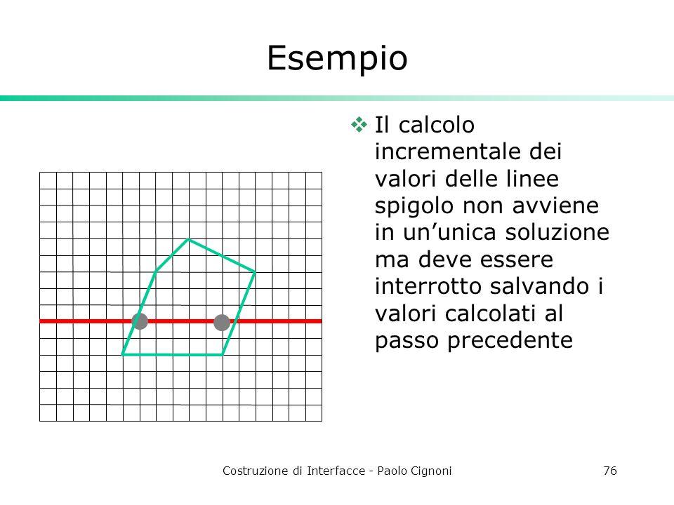 Costruzione di Interfacce - Paolo Cignoni76 Esempio Il calcolo incrementale dei valori delle linee spigolo non avviene in ununica soluzione ma deve es