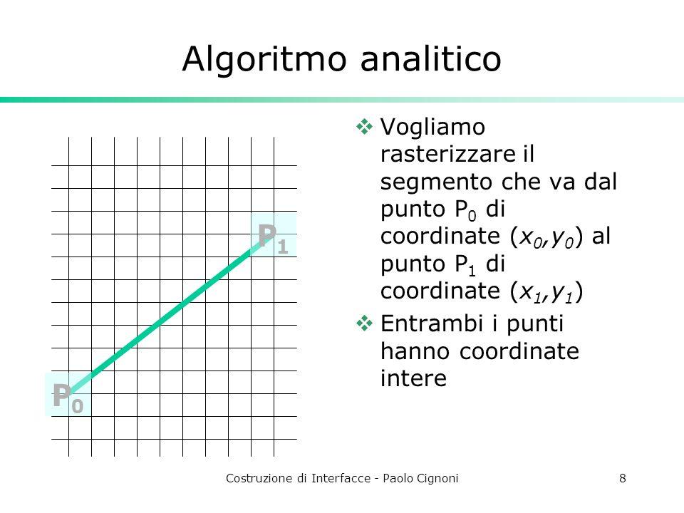 Costruzione di Interfacce - Paolo Cignoni8 Vogliamo rasterizzare il segmento che va dal punto P 0 di coordinate (x 0,y 0 ) al punto P 1 di coordinate
