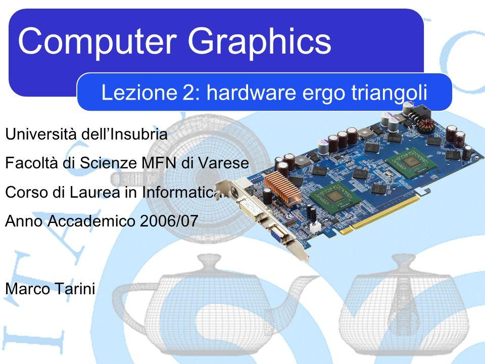 Computer Graphics Marco Tarini Lezione 2: hardware ergo triangoli Università dellInsubria Facoltà di Scienze MFN di Varese Corso di Laurea in Informat