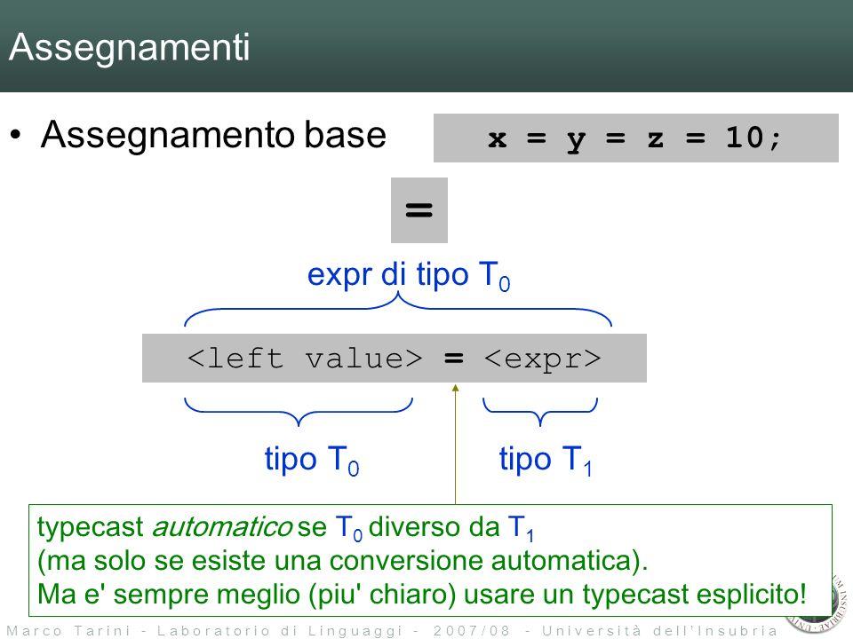 M a r c o T a r i n i - L a b o r a t o r i o d i L i n g u a g g i - 2 0 0 7 / 0 8 - U n i v e r s i t à d e l l I n s u b r i a Assegnamenti Assegnamento base = = tipo T 0 tipo T 1 expr di tipo T 0 typecast automatico se T 0 diverso da T 1 (ma solo se esiste una conversione automatica).