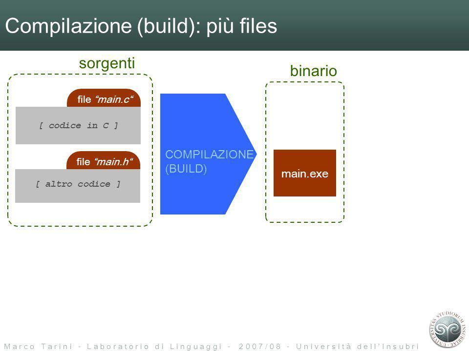 M a r c o T a r i n i - L a b o r a t o r i o d i L i n g u a g g i - 2 0 0 7 / 0 8 - U n i v e r s i t à d e l l I n s u b r i a Compilazione (build): più files file main.c [ codice in C ] file main.h [ altro codice ] COMPILAZIONE (BUILD) sorgenti main.exe binario