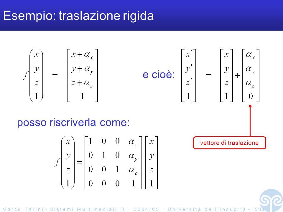 M a r c o T a r i n i S i s t e m i M u l t i m e d i a l i I I 2 0 0 4 / 0 5 U n i v e r s i t à d e l l I n s u b r i a - 15/40 Esempio: traslazione rigida posso riscriverla come: e cioè: vettore di traslazione