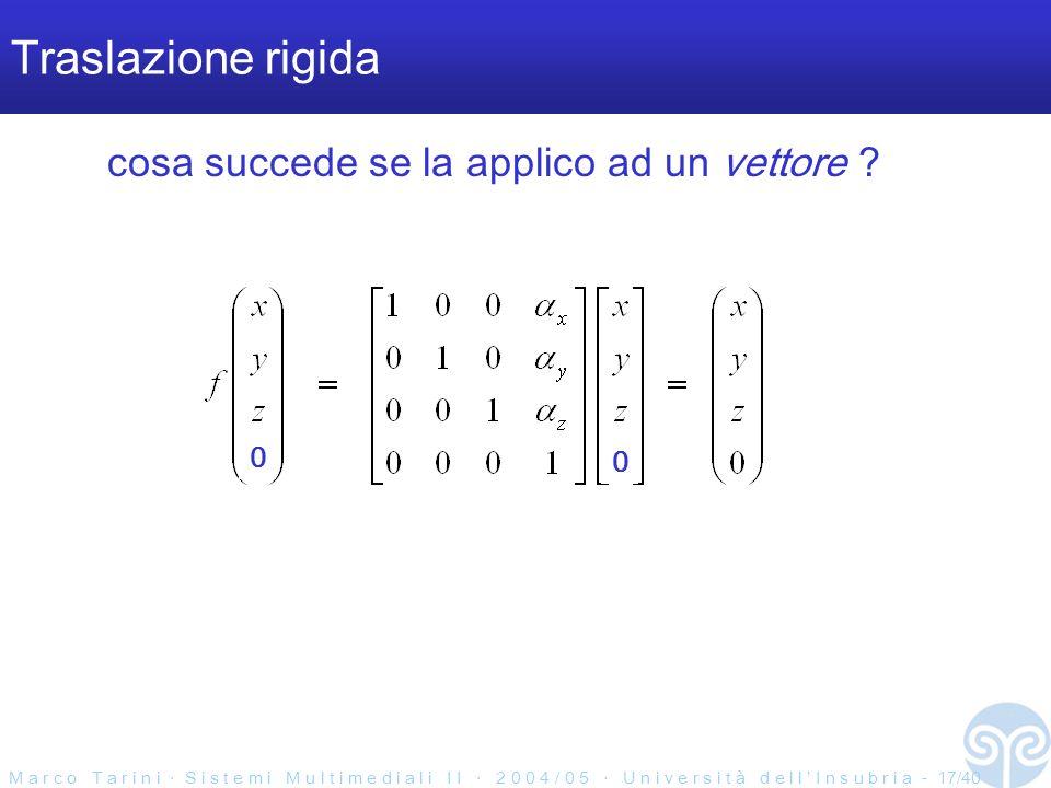 M a r c o T a r i n i S i s t e m i M u l t i m e d i a l i I I 2 0 0 4 / 0 5 U n i v e r s i t à d e l l I n s u b r i a - 17/40 Traslazione rigida cosa succede se la applico ad un vettore .