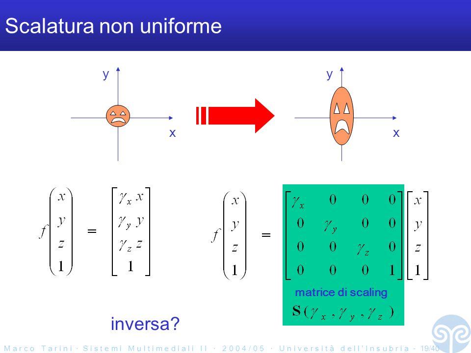M a r c o T a r i n i S i s t e m i M u l t i m e d i a l i I I 2 0 0 4 / 0 5 U n i v e r s i t à d e l l I n s u b r i a - 19/40 Scalatura non uniforme x y x y matrice di scaling inversa
