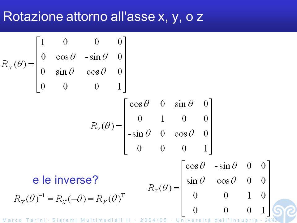 M a r c o T a r i n i S i s t e m i M u l t i m e d i a l i I I 2 0 0 4 / 0 5 U n i v e r s i t à d e l l I n s u b r i a - 24/40 Rotazione attorno all asse x, y, o z e le inverse