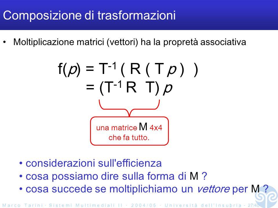 M a r c o T a r i n i S i s t e m i M u l t i m e d i a l i I I 2 0 0 4 / 0 5 U n i v e r s i t à d e l l I n s u b r i a - 27/40 Composizione di trasformazioni Moltiplicazione matrici (vettori) ha la propretà associativa f(p) = T -1 ( R ( T p ) ) = (T -1 R T) p una matrice M 4x4 che fa tutto.