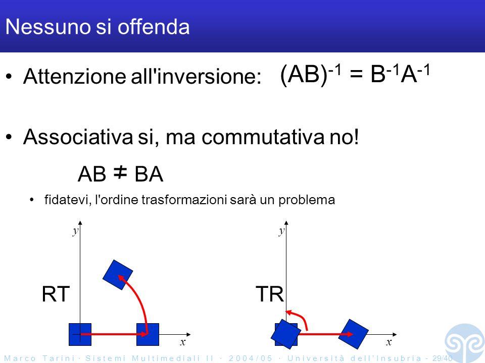 M a r c o T a r i n i S i s t e m i M u l t i m e d i a l i I I 2 0 0 4 / 0 5 U n i v e r s i t à d e l l I n s u b r i a - 29/40 Nessuno si offenda Attenzione all inversione: (AB) -1 = B -1 A -1 Associativa si, ma commutativa no.