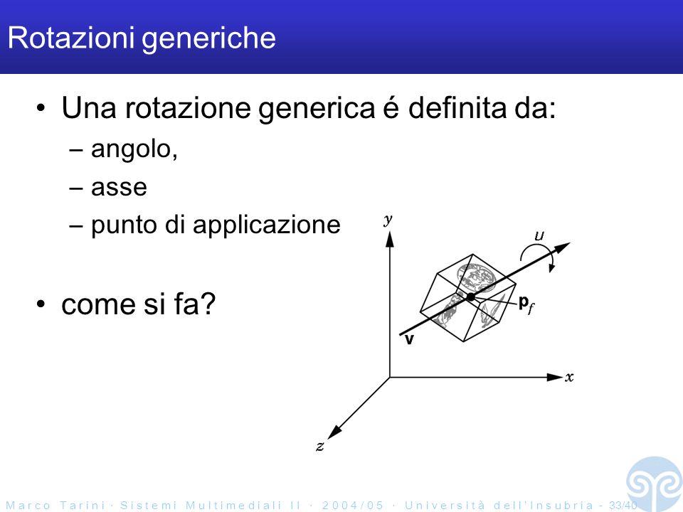 M a r c o T a r i n i S i s t e m i M u l t i m e d i a l i I I 2 0 0 4 / 0 5 U n i v e r s i t à d e l l I n s u b r i a - 33/40 Rotazioni generiche Una rotazione generica é definita da: –angolo, –asse –punto di applicazione come si fa?