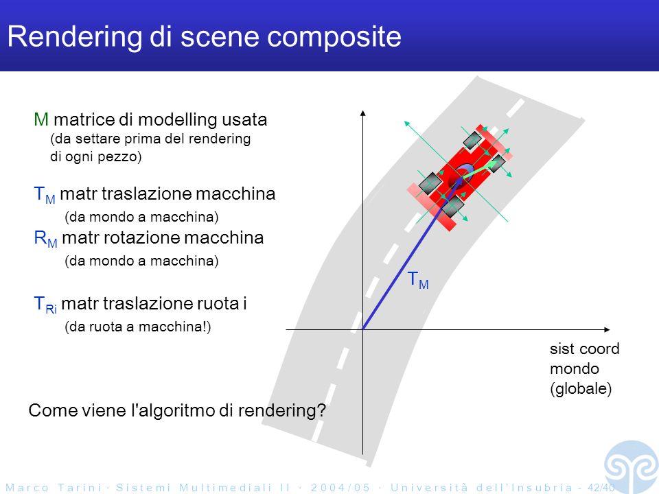 M a r c o T a r i n i S i s t e m i M u l t i m e d i a l i I I 2 0 0 4 / 0 5 U n i v e r s i t à d e l l I n s u b r i a - 42/40 Rendering di scene composite M matrice di modelling usata (da settare prima del rendering di ogni pezzo) T M matr traslazione macchina (da mondo a macchina) R M matr rotazione macchina (da mondo a macchina) T Ri matr traslazione ruota i (da ruota a macchina!) sist coord mondo (globale) TMTM Come viene l algoritmo di rendering